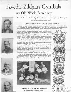 One of the first Zildjian advertisements