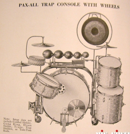 A typcal trap set used by theater drummers