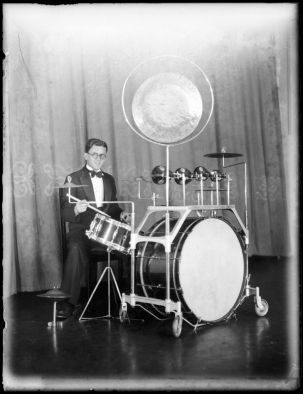 94/63/1-29/1 Glass negative, quarter plate, dance band drummer at Mark Foy's Empress Ballroom, Tom Lennon, Sydney, Australia, 23 October 1935